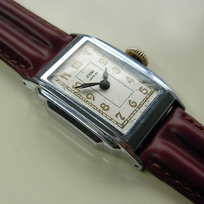 Vintage 1937 New Haven Jerome Jeweled Men's Step-case Watch