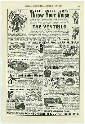 Johnson Smith Full Page Of Toy Ads Boys Ventrilo 1914 Vintage Magazine Ad