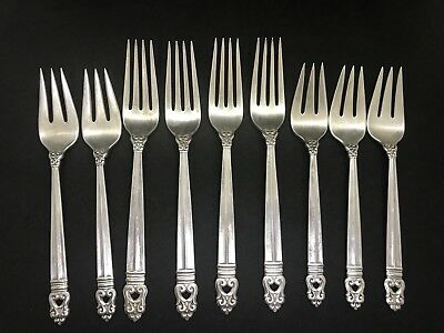 International Sterling Silver Royal Danish Forks  Incomplete Set of 9