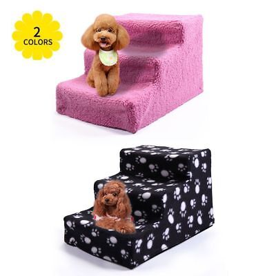 Small Pet Stairs 3 Steps Soft Cat Dog Animal Step Ramp Climb Dog Stairs Indoor