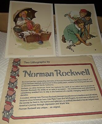 """2 Norman Rockwell Lithographs, """"The Critic"""" and """"Magic Potion"""". 5x7 Size"""