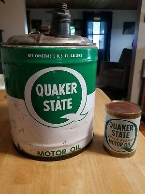 Antique Vintage 5 Gallon Oil Can Advertising Quaker State Motor Oil & 1 qt oil