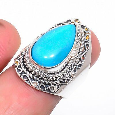 Egyptian Sleeping Beauty Turquoise Vintage Style 925 Sterling Silver Ring 6(51)