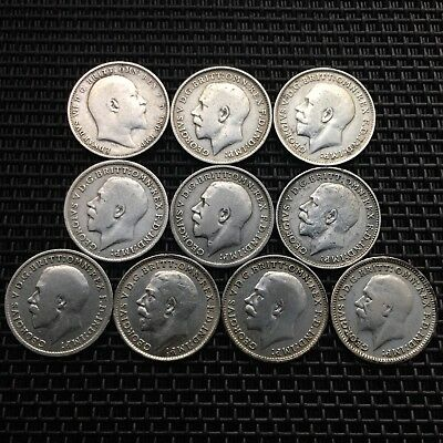 Lot Of Old Silver Coins,King George V,Great Britain,3 Pence,British Coin X 10,UK