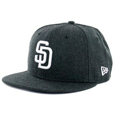 (7 1/4) - New Era 59Fifty San Diego Padres Heather Black Fitted Hat (HBK WH) Cap
