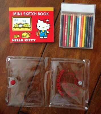 Vintage 1976 Sanrio Hello Kitty Mini Sketch Book, Pencil Case & Notebook Lot