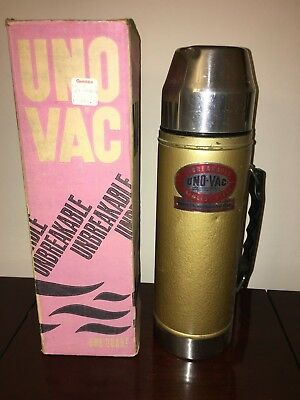 Vintage Union UNO VAC stainless Steel Thermos with cap & top 200-16 w box rare!