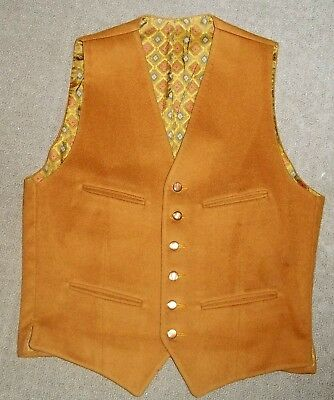Vintage Keith Courtenay Mustard Wool Vest English Wool Cloth Strachan Stroud