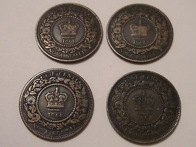 4 Coin Lot 2 1861 & 2 1864 One Cent New Brunswick Canada