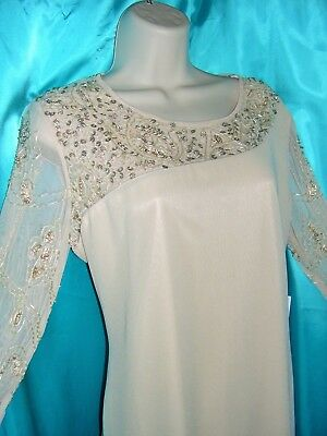2PC NEW w/TAG Beige SILKY Sheer Sequined Hand BEADED Long Blouse & Pants SET M38