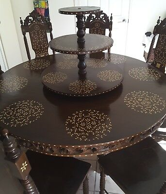 Round Timber Dining Table with 8 chairs (unique)