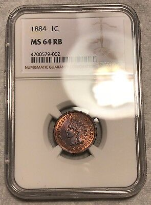 NGC MS-64 RB 1884 Indian Head Cent! Lots of red and gorgeously toned reverse!