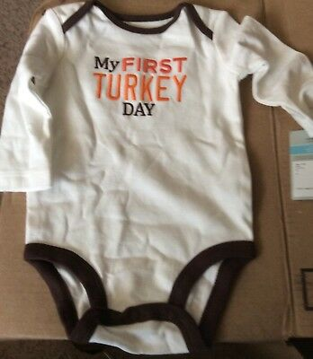 NEW Carters Baby Girl Or Boy 6 Months White First Turkey Day Thanksgiving Shirt