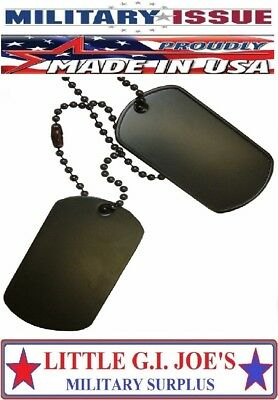 BLANK Black Military Dog Tags Set & 2 - Black Ball Chains 1-Long & 1-Short