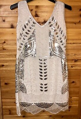 Formal Dress sequin silver White Dinner Wedding Cocktail Party size M prom $159