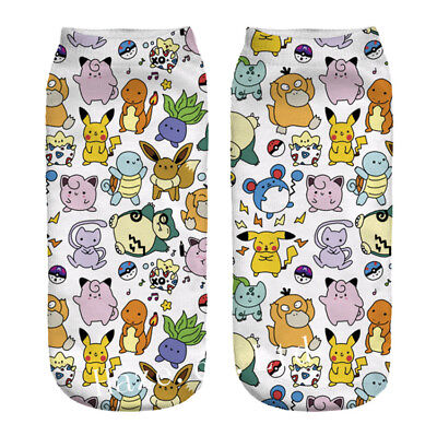 1Pair Pokemon Pocket Monsters Socks Low Cut Crew Cotton Socks utility