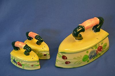 Vintage Porcelain Iron Shaped Salt/pepper Shakers And Cheese Dish