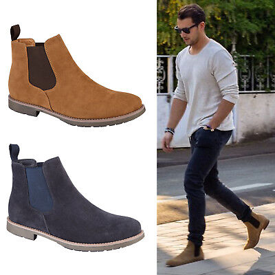 f9934f071c0 MENS CHELSEA BOOTS Smart Formal Casual Pull On Gusset Dealer Ankle Shoes  Sizes