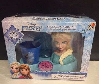 """""""FROZEN"""" SPARKLING SMILE SET-TRAVEL TOOTHBRUSH-HOLDER & RINSE CUP New"""