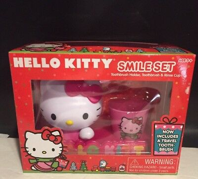 Hello Kitty Bathroom Smile Set Toothbrush Holder Cup New