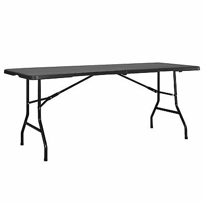 [casa.pro]® Table pliante gris 183x76cm table jardin table de camping