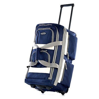 Olympia USA 26 Inch 8 Pocket Rolling Duffel Bag-Navy color
