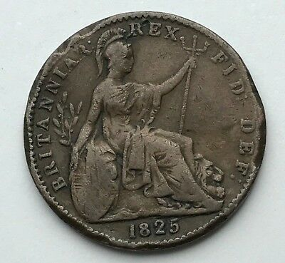 Dated : 1825 - One Farthing - Copper Coin - King George IIII - Great Britain