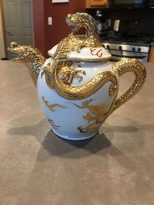 Vintage White and Gold Embossed Dragonware Teapot Moriage Hand Painted