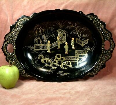 ANTIQUE CHINOISERIE MOTHER OF PEARL ORIENTAL FIGURES GOLD GILT DISH STAND c1880