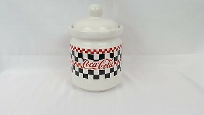 Vintage Coca-Cola Small Gibson Black Red and White Checkered Cookie Jar 1997