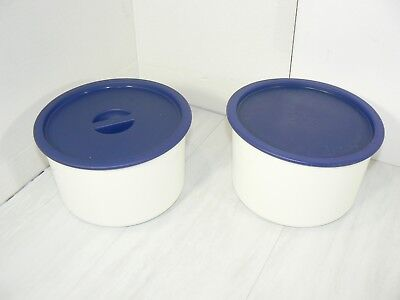 (2) Tupperware Bold N Blue Coffee Canisters 2709 4 Cup with Lids 2419 & 2717