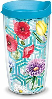 Tervis 1303659 Insulated Tumbler with Wrap and Turquoise Lid, 16 oz, Clear