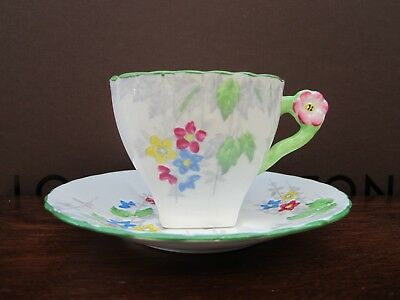 Art Deco English Delphine China Tea Cup & Saucer Flower Handle
