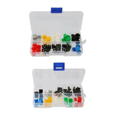 Set of 100 Tactile Push Button Switch Momentary Tact Caps Keycap Box