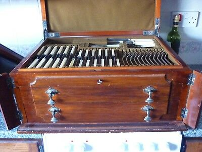 143 Piece Canteen of Silver Plated Cutlery in Mahogany Locking Chest 1920's