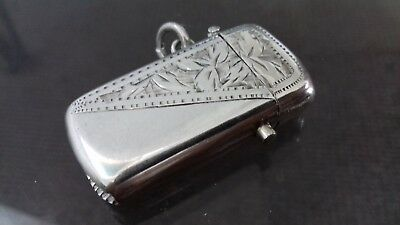 Rare Solid Silver Tiny Button Push Spring Vesta Charles Lyster & Son 1905