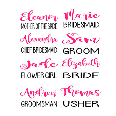 Personalised Wedding Name & Role ~ Vinyl Decal Sticker, Gift , Champagne Flute
