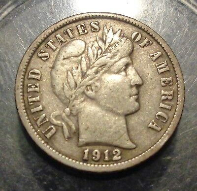 Nice original VF+++ to Extra Fine XF 1912 D Barber/Liberty silver 10C dime coin