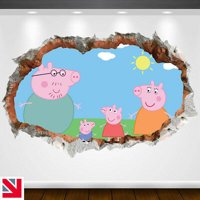 3D PEPPA PIG Wall Decal Sticker Vinyl Wall Hole Kids Boys Girls Mural