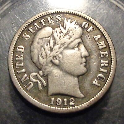 Very nicely toned Very Fine to VF+ 1912 Barber/Liberty silver 10C dime coin