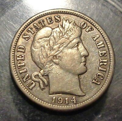 Very nice Extremely Fine+ XF+ near AU 1914 Barber/Liberty silver 10C dime coin