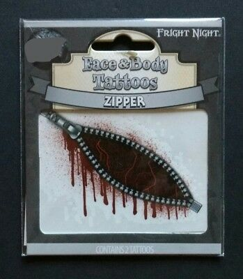 Zipper Face And Body Tattoos Halloween Costume Accessory by Fright Night