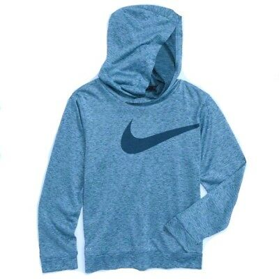New Nike Toddler Boys Dri-Fit Swoosh Logo Hoodie Choose Size MSRP $28.00 Blue
