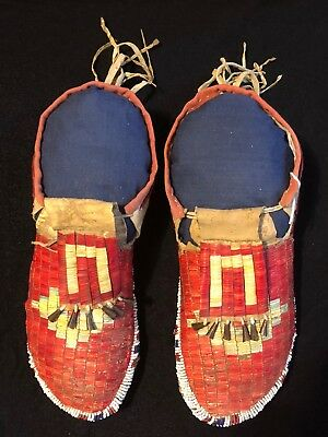 Nothern Plains Quilled And Beaded Moccasins, Circa 1880s