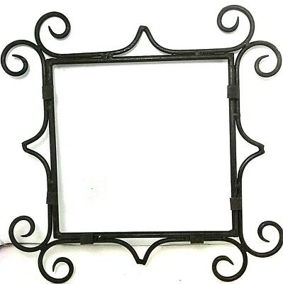 Vintage Large Heavy Wrought Iron Picture Frame French? Art Deco Holder Display