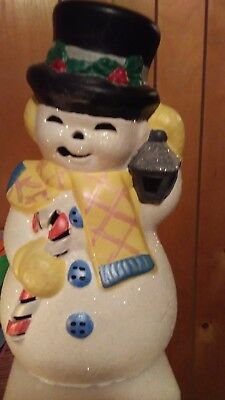 Vintage 1980 Era Lighted Ceramic Snowman With Pipe