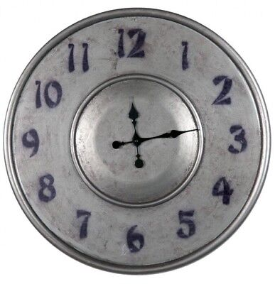 Large 60cm Silver Grey Metal Wall Clock Industrial Vintage Style Decor