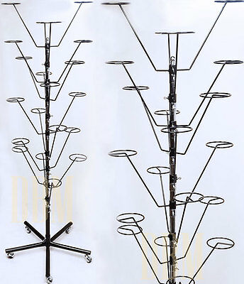 BLACK 20 Hat Cap Retail Display Rack Floor Stand 10 Tiers Spinner Rotate Wheels