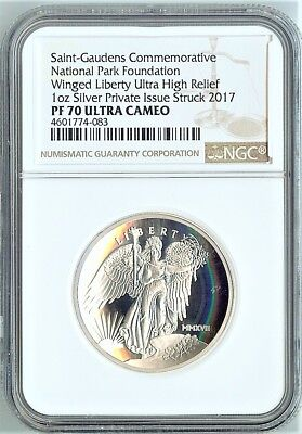 2017 Saint-Gauden's Silver Winged Liberty Ultra High Relief / Ngc Proof 70 Ucam