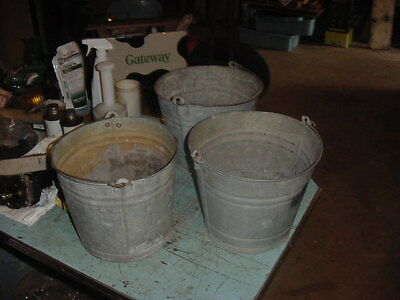 3 VINTAGE GALVANIZED PAILS BUCKET 70s 80s GARDEN DECOR 2 GAL. ?? LOT A
